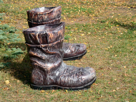 pleat: The wooden boots on the grass
