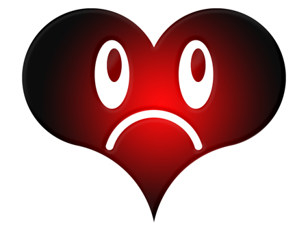 unkind: Symbol of the angry heart on the white background