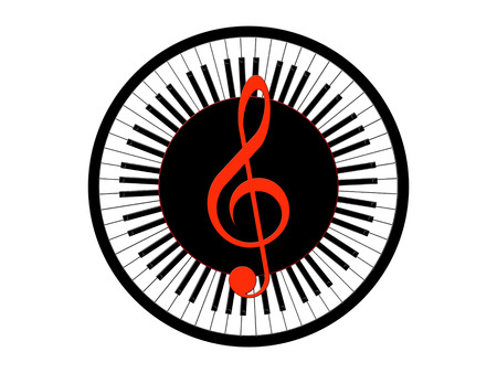 pianoforte: Treble clef and round piano