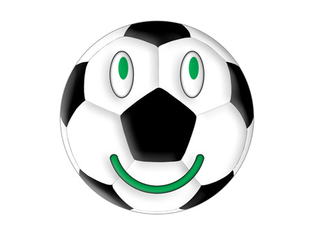 Symbol of the smiling football on the white background