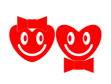 Symbols of the smiling female and male hearts