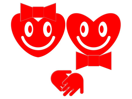 heterosexuality: Symbols of the smiling female and male hearts