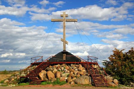 wooden cross: Wooden cross on the Sacred hill