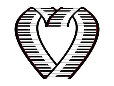 pianoforte: Keys of the piano as the symbol of the heart