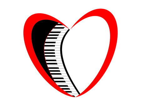 Keys of the piano and symbol of the heart Stock Photo - 56261353