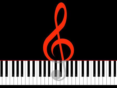 pianoforte: Treble clef and keys of the piano