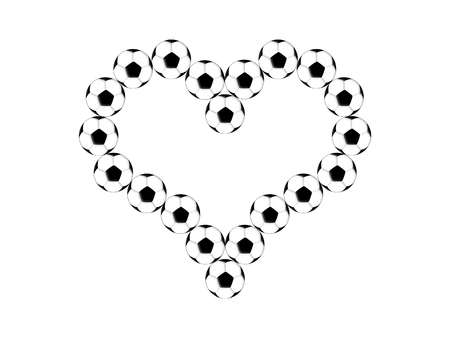 out of shape: Soccer balls are laid out in the shape of the heart