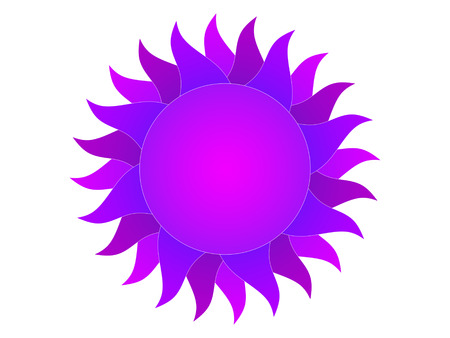 protuberance: Symbol of the violet sun on a white background