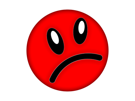 Red angry face on a white background Stock Photo