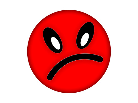 resentment: Red angry face on a white background Stock Photo