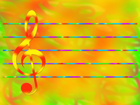 stave: Red-and-yellow treble clef and multicolored staff on the bright color background Stock Photo