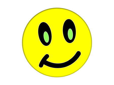 affable: Yellow face on a white background