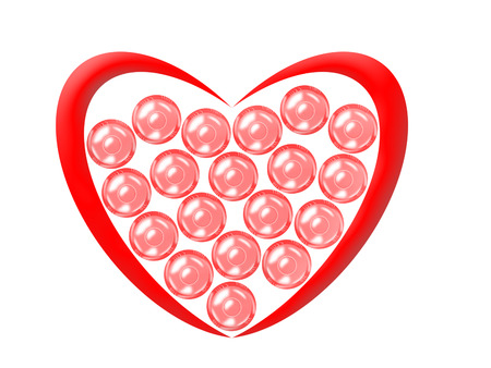 Symbol of the heart and condoms on a white background