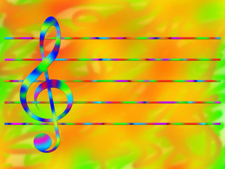 stave: Multicolored treble clef and stave on the bright color background Stock Photo