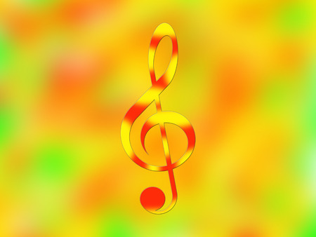 red sound: Red-and-yellow treble clef on the bright color background