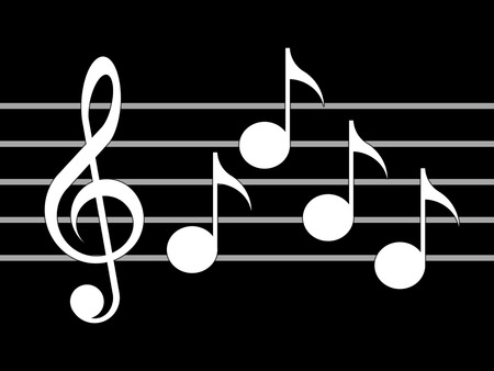 stave: Treble clef, notes and staff on the black background Stock Photo