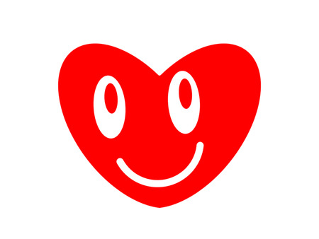 Symbol of the smiling heart on the white background