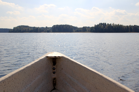View of the lake from the boat Stock Photo