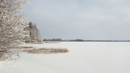 vastness: View of the lake in the winter time