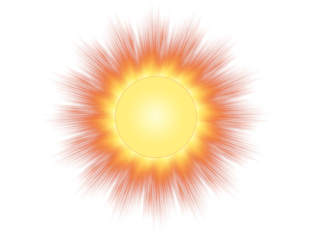 Symbol of the sun on a white background
