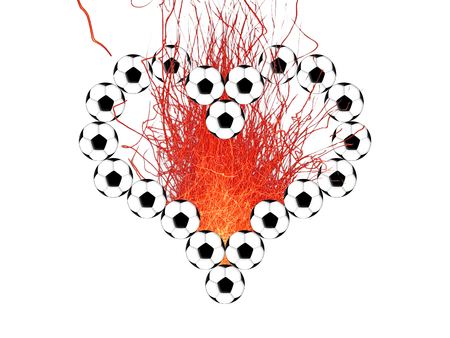 Heart outline from soccer balls and bright sparks on a black background Stock Photo