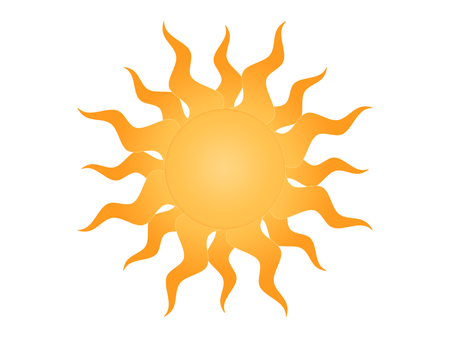 fiery: Symbol of the sun on a white background