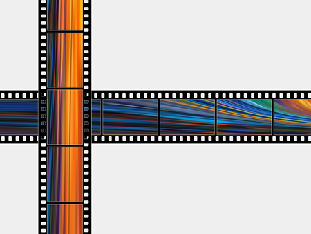 Color photographic films on a white background Stock Photo
