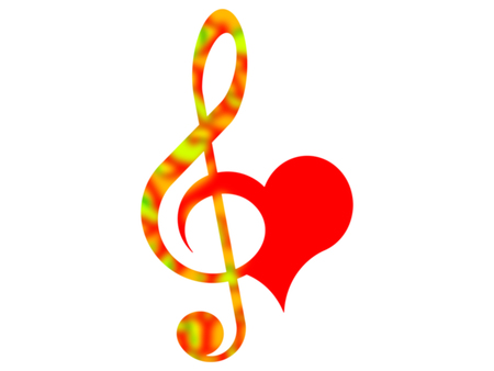 Color treble clef and heart