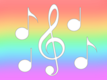 Notes and treble clef on the multicolored background