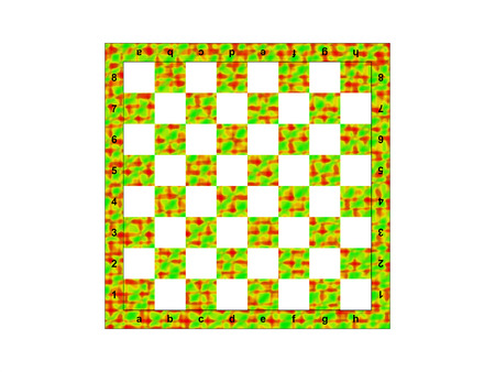 Color chessboard on the white background