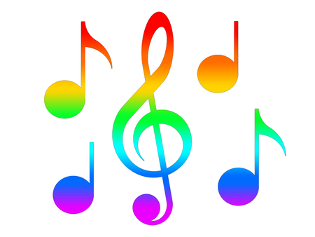 Treble clef and notes in the colors of the rainbow on the white background Stock Photo