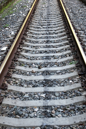 Rails and sleepers of the railway Imagens