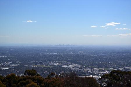 Skyline of Melbourne taken from Mount Dandenong Stock Photo