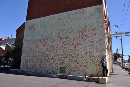Keith Harings Graffiti andor Mural in Melbourne, Victoria - Australia. Editorial