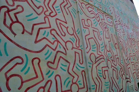 Keith Harings Graffiti andor Mural in Melbourne, Victoria - Australia Stock Photo