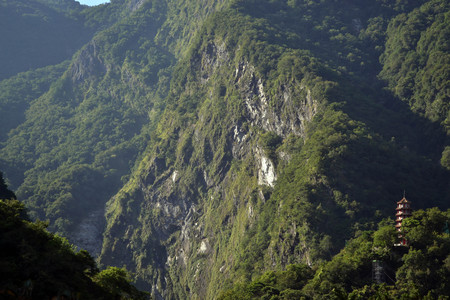 Hsiang-Te Temple in the middle of Taroko National Park in Taiwan. The town is called Tianxiang, and could be one best alternative (instead of Hua Lien, which is a bigger city) for those who want to sleep while surrounded by mountains. Stock Photo - 84204928