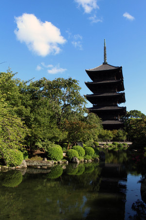 A Japanese garden with Toji Temple as its background. Its a five-story pagoda as well as the tallest wooden tower in Japan. Pic  was taken in Kyoto, Japan, in August 2017.