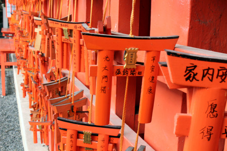 The prayer plaques (called Ema in Japanese) at Fushimi Inari Shrine in Kyoto, Japan. It looks like a mini gate of a Shinto Shrine. Pic was taken in Japan, August 2017.