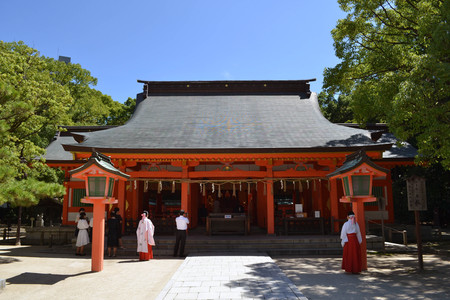 Japanese wedding conducted in a shrine complex in Fukuoka. Pic was taken in August 2017.