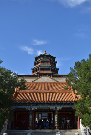 The temples and buildings around Summer Palace in Beijing. Pic was taken in September 2017. Translation: The Summer Palace (Yiheyuan)