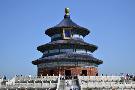 Tourists visiting Temple of Heaven, Beijing. Pic was taken in September 2017 Stock Photo