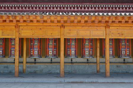 The Tibetan kora or pilgrimage and prayer wheels in Xiahe (Labrang), Amdo Tibet - China. Pic was taken in September 2017.
