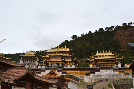Closer to the main temple in Serti Gompa in Langmusi thats been being developed. Pic was taken in Amdo Tibet, September 2017.