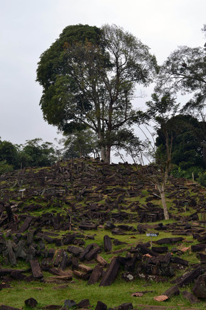 An megalithic site in West Java, Indonesia. It has thousands of ancient stones. Its claimed to be the largest in South East Asia. Pic was taken in Gunung Padang, Cianjur. July 2014. Stock Photo