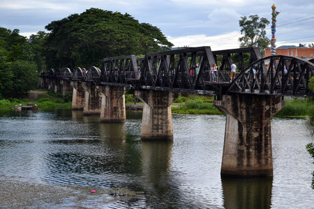 Closer walk to the famous sightseeing spots around Kanchanaburi, Thailand. This one is the infamous River Kwai Bridge. Reachable by bus from Bangkok. Pic was taken in August 2015.