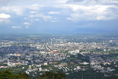 The view around temple in Doi Suthep. Here the visitor can see Chiang Mai city. Pic was taken in August 2015.