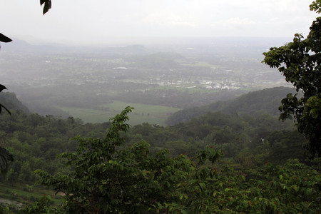The look-out view of Yogyakarta from Candi Ijo. It was cloudy and raining. Pic was taken in November 2017.