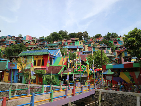 The colourful or rainbow village (Kampung Pelangi) in Semarang, Central Java, Indonesia. It was slum area before.  Pic was taken in January 2018.