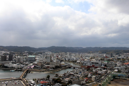 The view of Karatsu city from the castle. Its located by the sea. Taken in February 2018.