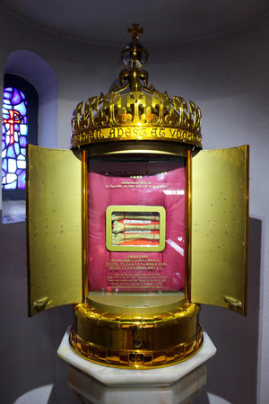 The relic of St. Paul Miki, A holy saint for Japanese Catholics. 26 Martyrs Museum & Monument. Nagasaki, Japan, February 2018.   Editorial